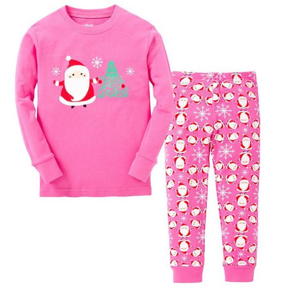 Toptan 2018 Yeni Varış Bebek Noel Pijama Pijamas Çocuk Kız Pijama Çocuk Noel Baba Pijama Setleri Çocuklar Pembe Noel Pijama Kıyafet
