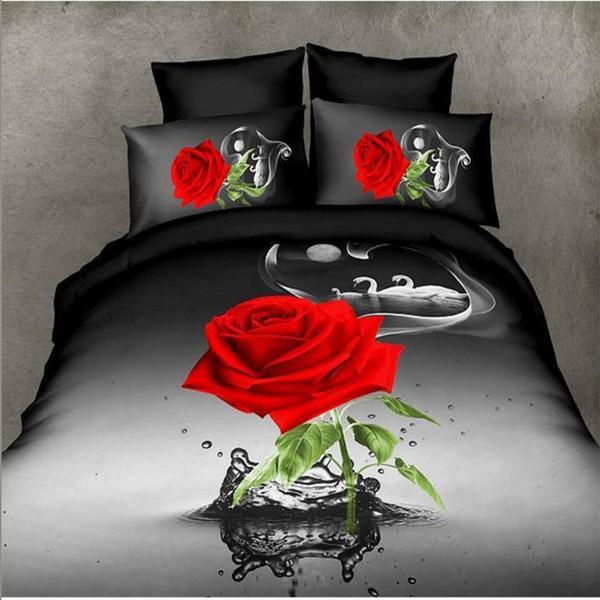 Literie Ensemble Reine Taille 3d Ensembles De Literie Noir Rouge Rose Swan Housse De Couette Sheet Sheet Taie D'oreiller Literie Ensemble Home Decor Adulte / enfant
