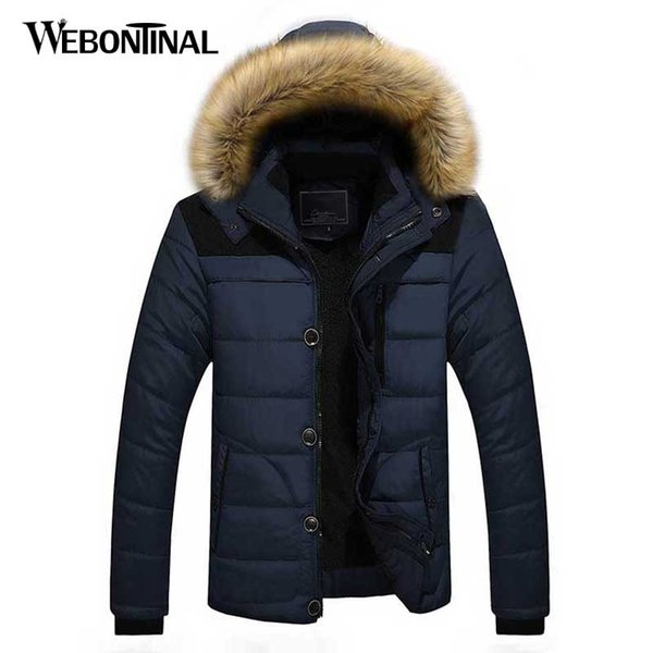 Autumn Winter With Fur Hooded Jacket Men Parka Short Quilted Padded Wadded Windbreaker Male Coat Parkas Korean Overcoat warm