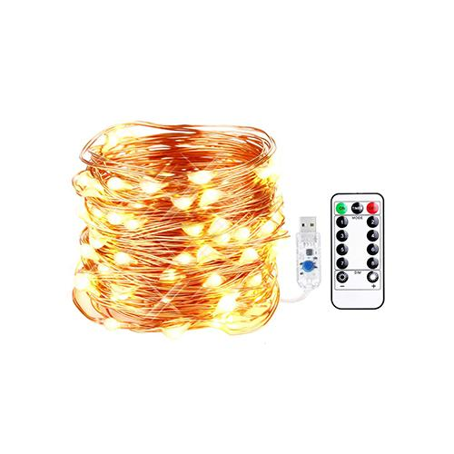 16.4ft Dimmable USB LED String Lights 8 Modes 50 LEDs Twnikle Fairy Lights USB Powered Firefly String Lights with Remote Control for Holiday