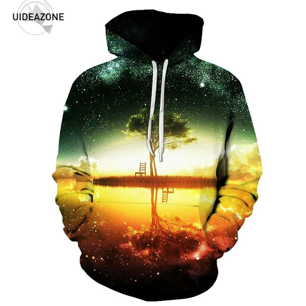 Space Galaxy Hoodies Sweatshirt 2017 Tree Lake Chiar 3D Hooded Hoody Sudadera Hombre Casual Outwear Tracksuit Men Dropship