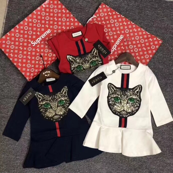 2018 autumn new cat head sequin dress top super-natural, imported cotton fabric Baolan white red size: 100/110/120/130/140 [CM]