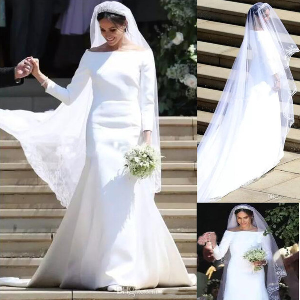 Discount Meghan Markle White Wedding Dresses Bateau 34 Long Sleeve Sweep Train Simple Garden Chapel Bridal Gowns Vestido De Novia Wedding Dresses For