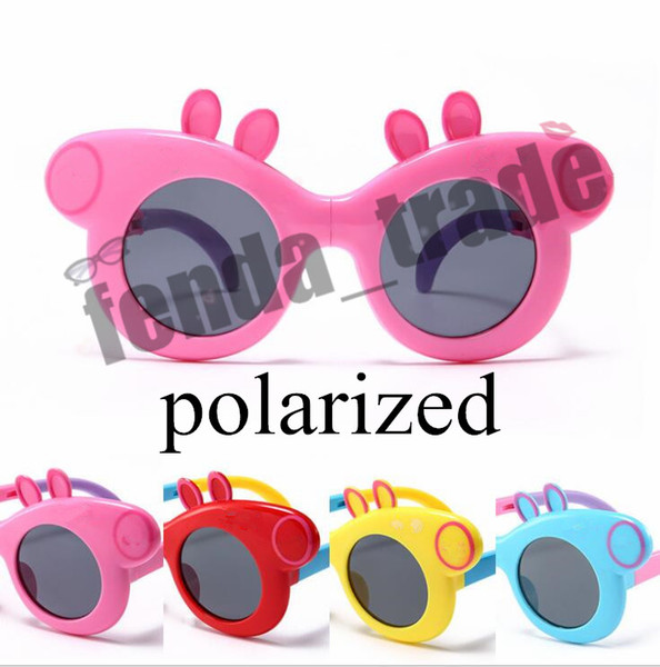 4 colors HOT sale Kids Polarized Sunglasses Pink Pig Girls Sunglass Soft Silicone Collapsible Cartoon Glasses UV400 Gafas de sol 3-12 Years