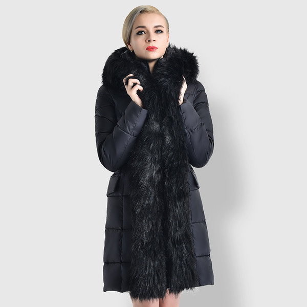 new fashion women winter long style overcoat winter warm feather cotton fur trim parka with fur collar thicken coats black khaki gray