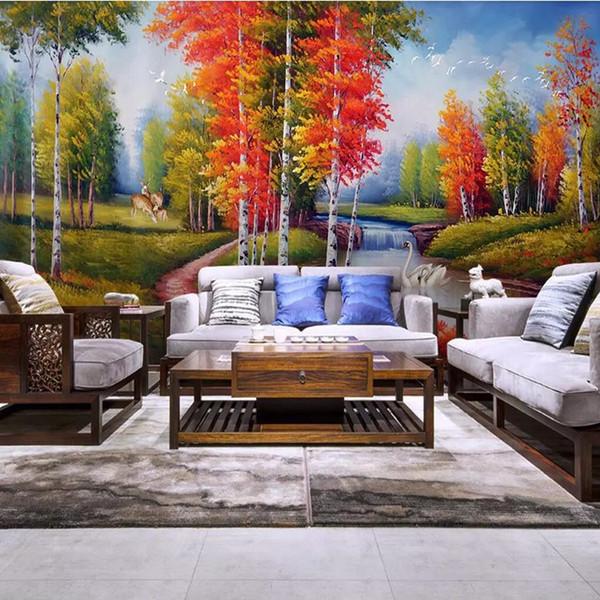 3D страна картина маслом пейзаж настенная живопись дерево украшения живопись обои бесшовные стены ткань большой фреска гостиная диван обратно