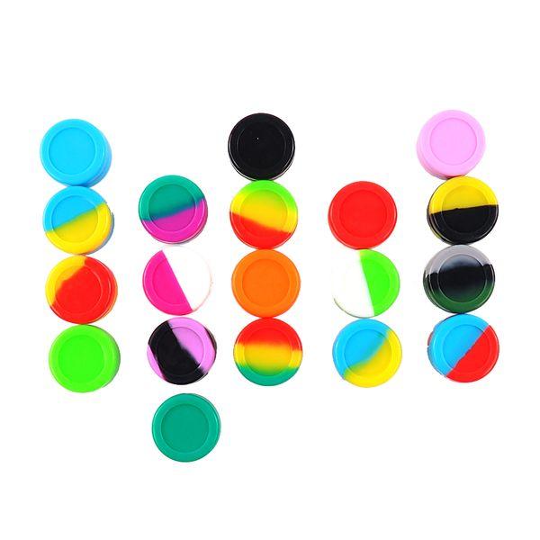 Colores mezclados 2000 unids / lote Venta al por mayor 5 ml caja de cera de silicona reutilizable Contenedores Tarros de silicona recipiente para el envío libre