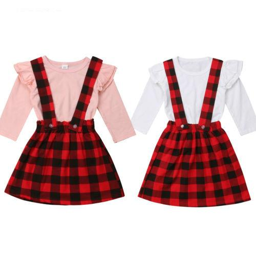 Kid Girl Suspender Skirts Shirt Long Sleeve Autumn Warm Party Clothing Outfits 2PCS Toddler Baby Girl Clothes Set Plaid 1-6T