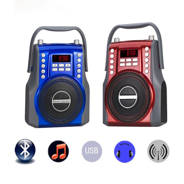 Azexi Radio FM Portable Speaker Multimedia Square Loudspeaker Recording Receiver Support USB AUX TF Card Microphone Input
