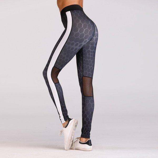 d72608dadd0e94 New hot sale High Waist Leggings Women Workout Fitness Trouser Fashion White  stripe Patchwork Push Up