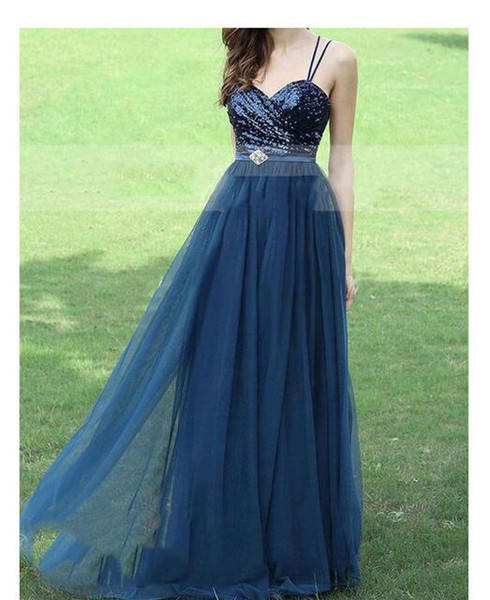 Cheap Peach A-line blue Bridesmaid Dresses Plus Size spaghetti Bridesmaid Gowns Long elegant Special Occasion Dress for girls party gowns