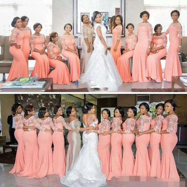 Arabic African Coral Peach Blush Long Bridesmaid Dresses with Half Sleeves Plus Size Lace Mermaid Party Dress Beautiful Bridesmaid Dresses