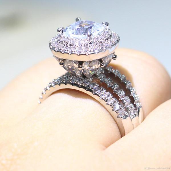 Choucong уникальный новый роскошные ювелирные изделия 925 стерлингового серебра падение воды Белый Топаз CZ Diamonique женщины свадьба Корона кольцо для любителей