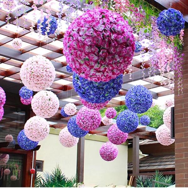 6 a 24 pulgadas Artificial Rose Ball Artificial Flower Pomander de seda Rosas besando bolas flores falsas para la decoración del partido Wedding Centerpieces