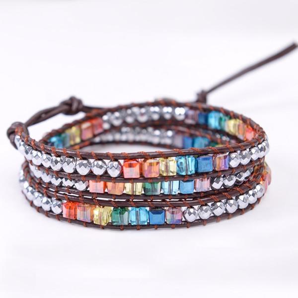 Pulsera de Chakra Pulsera de cuero hecha a mano Pulsera de múltiples colores Cuentas de cristal de repuesto Piedra natural