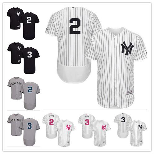 half off 5ae1a 8e67e 2019 Custom Men'S Women Youth Majestic New York Yankees Jersey #2 Derek  Jeter 3 Babe Ruth Black Grey White Kids Girls Baseball Jerseys From Gzf606,  ...