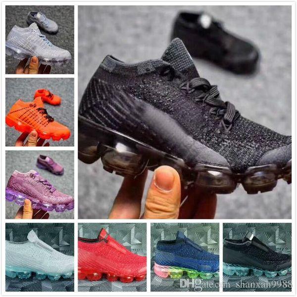 size 40 c0c53 65659 New Baby Children Boys Girls Vapormax 2 Runner Kids Running Shoes Black  White Pink Vapormaxes Trainers Knitting Air Cushion Shoes Sneakers Kid  Running ...