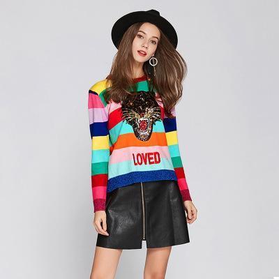 2017 Nuevo Otoño Winte Mujer Artículo Knitwear Lentejuelas Color Tigre Manga Larga Suéter de Punto O-Collar de Las Mujeres Jerseys Clásico Suéter Kint