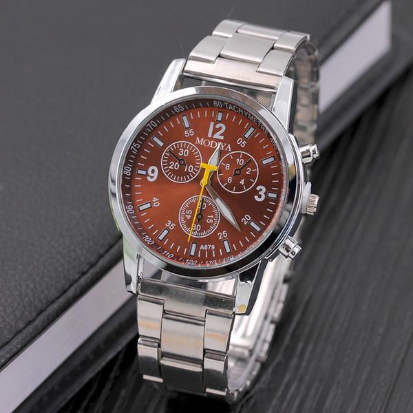 Mens de lujo negro de acero inoxidable reloj analógico de cuarzo de acero inoxidable Six Pin mujeres hombres Casual reloj al aire libre