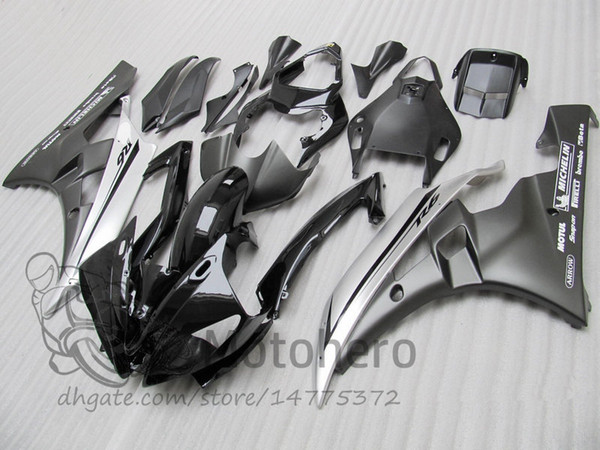 Matte & glossy black silver Injection mold fairings for YAMAHA YZF R6 2006 2007 YZFR6 06 07 #96201-21V YZF-R6 06-07 Fairing kits windscreen