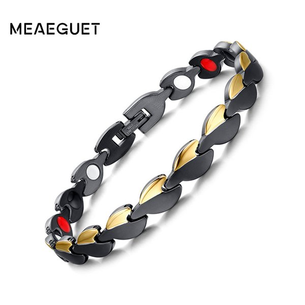 Meaeguet Black Gold Color Stainless Steel Anti-fatigue Magnetic Therapy Power Bio Bracelet For Women Never Fade Top-Quality