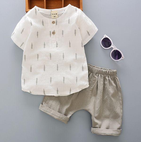 Boys cotton and linen short-sleeved shirt set 2018 summer new Korean version of children's wear baby infant children's summer two-piece suit