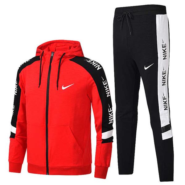 Sıcak Satış Spor Marka Erkek '; S Kadın'; S Eşofman Yan Şerit Uzun Kollu Kapşonlu Ceketler Pantolon Jogging Yapan Erkekler Için Spor
