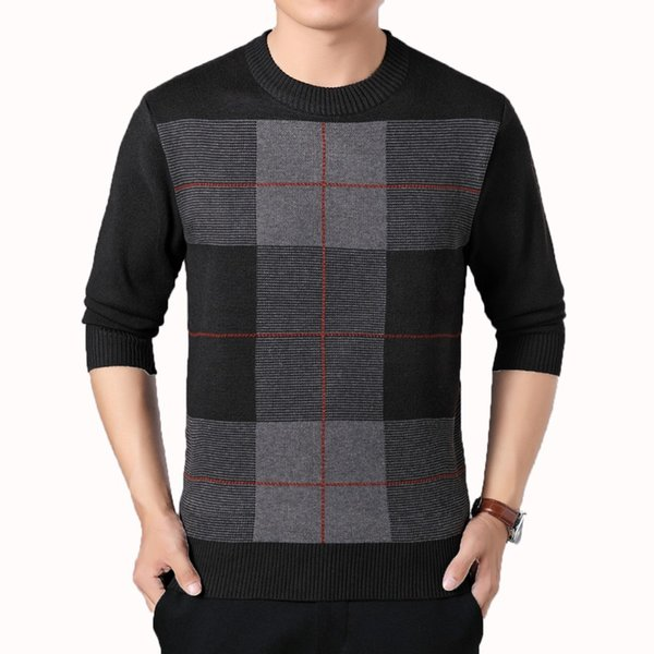 Middle Aged Men Wool Blend Pullover Sweaters Male Smart Casual Knitwear Mans Slim Fit Pullover Sweater Father Autumn Knitted Top