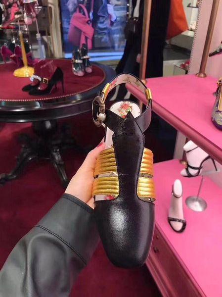 Top Quality gatinho sandálias de salto de couro do couro sapatos para as mulheres moda chinelo mulheres sapatos casuais tamanho 35-40 Com caixa de 2 cores