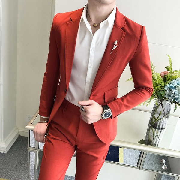(jacket + trousers) men's casual Korean style slim and handsome young men's solid color business suit two-piece suit