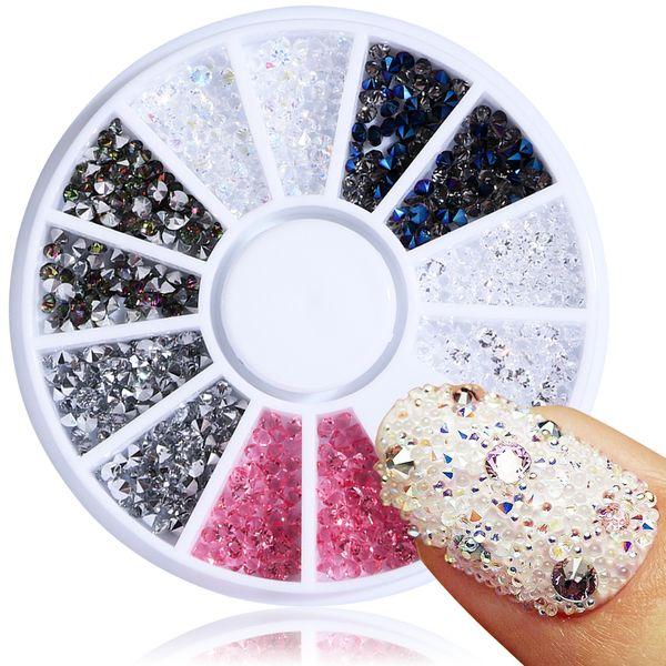 1Wheel 2mm Nail Art Decoration Zircon Micro Crystal Diamond Rhinestones Glitter Mini Beads Charm Strass Manicure Gem Studs JIZ01