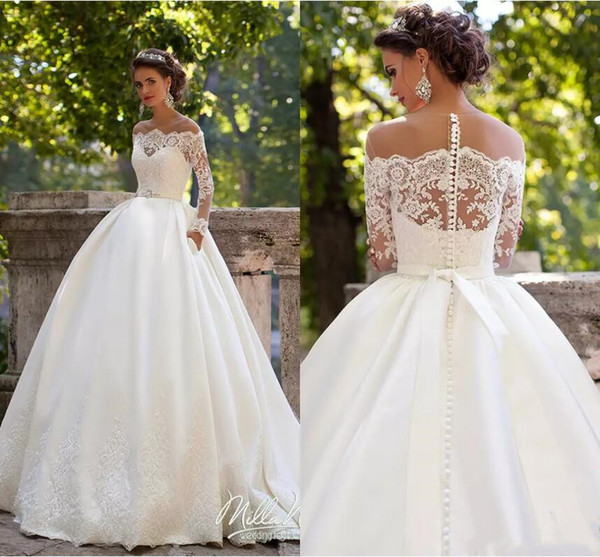 best selling Milla Nova Wedding Dresses Sheer Lace Appliques Sweep Train Satin Bridal Gowns Long Sleeves Vintage Country Ball Gown Wedding Dress