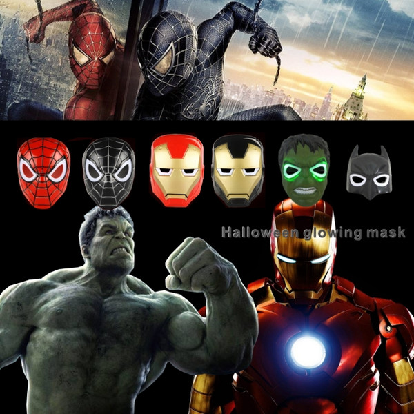 2018 Natale LED Maschera da supereroe incandescente per bambino adulto Avengers Marvel spiderman ironman capitan america hulk batman party mask.