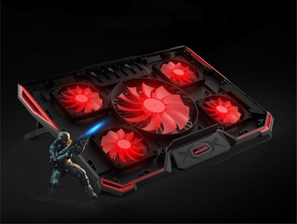 """2018 New laptop cooler cooling pad with Silence 5pcs LED Fans USB 2.0 Adjustable Notebook Holder for 12""""13""""14""""15""""17""""18""""19""""Laptop"""