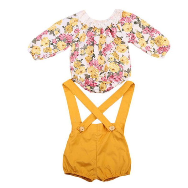 Einzelhandel 2018 Frühling Sommer neue Mädchen Kleidung Sets Floral Baumwolle Langarm Body + Overall Outfits Kinder Kleidung 0-2Y KA210