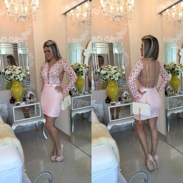 Fashion Pink Long Sleeve Cocktail Dresses Short Lace Sweetheart Mermaid Evening Gowns Mini Formal Women Homecoming Party Dress Online