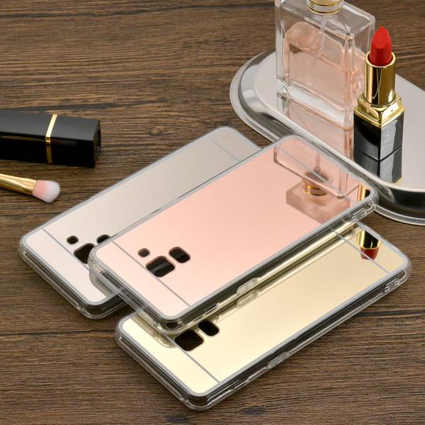 Plating Mirror Makeup Soft TPU Full Protective Case Back Cover For Samsung J2 J5 Prime J3 Pro 2017 J7 Plus Max A8 Plus 2018