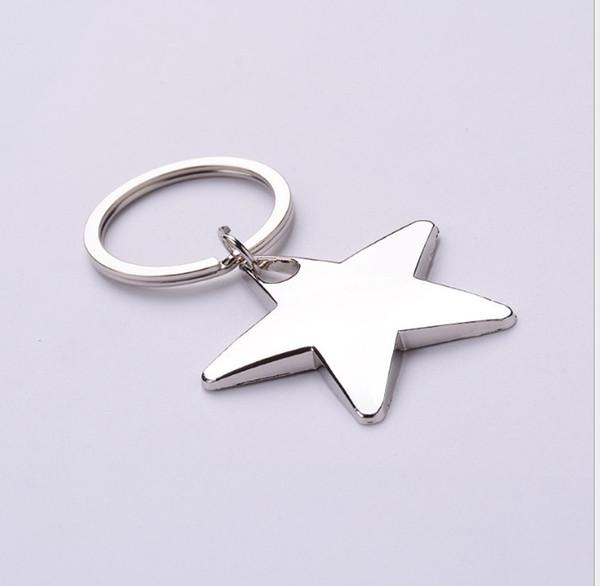 top popular Novelty Star Shaped Keychains Metal Keyrings Custom LOGO for Gifts 2020