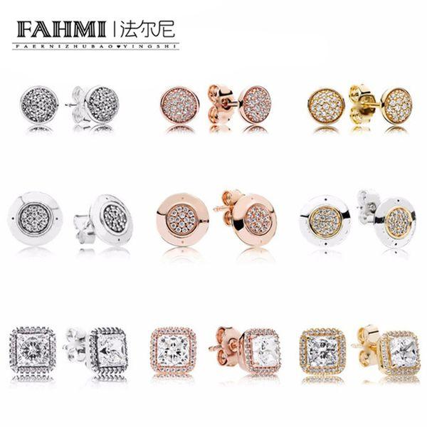 FAHMI 100% 925 Sterling Silver Rose cor do ouro para sempre brincos Com Limpar CZ Para Mulheres presente Jóias Fine Original