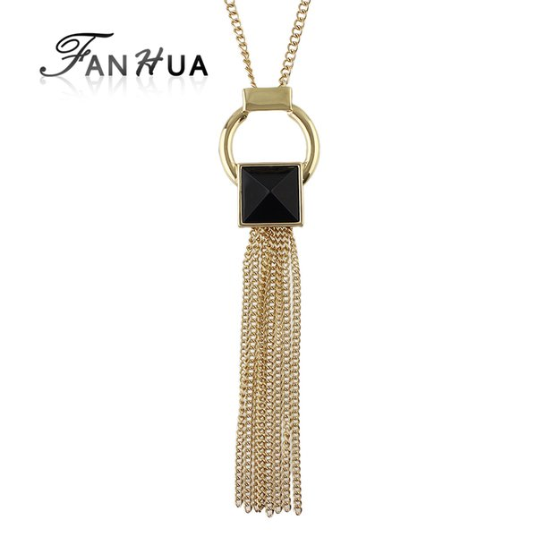 FANHUA New Jewelry Gold-Color Long Chain Necklace Geometric Black Acrylic Long Tassel Necklaces & Pendants Collier Femme