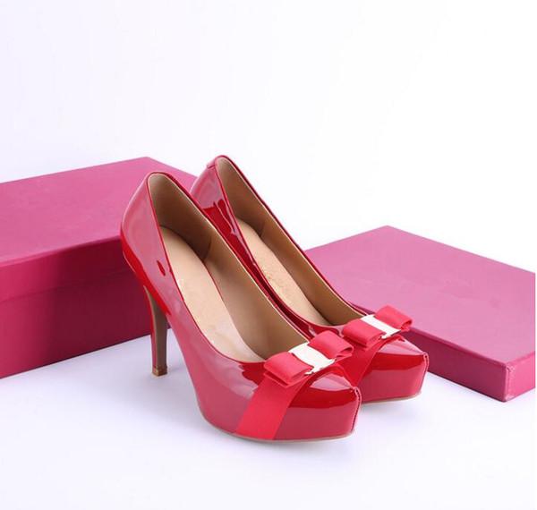 {Boîte d'origine} Classique Femmes Marque Rouge Bas Talons En Cuir Verni Pointu Toe Chaussures D'habillement