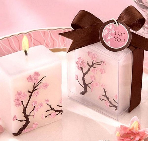 100pcs Wedding Candles Smoke-free Scented Wax Cherry Blossoms Candle Wedding Present Gifts Favors Party Decoration