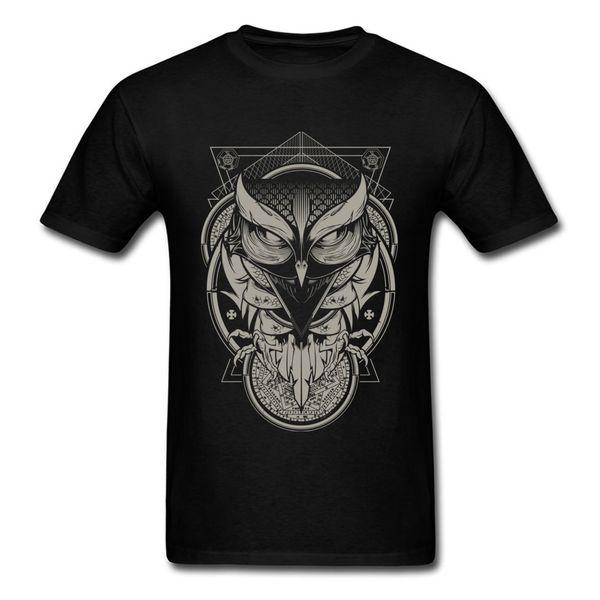 Alchemy Owl Men's Fashion Normal Tees Round Collar Summer Cotton Fabric T Shirts Print Short Sleeve Tee Shirts