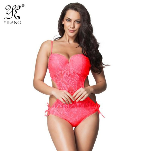 Brand Sexy Push Up One Piece Swimsuit 2016 New Hot Bandeau Swimwear Women Plus Size Transparent Lace Swimming Suit Beachwear 6XL