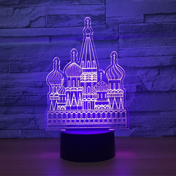Russian Castle 3D Optical Illusion Lamp Night Light DC 5V USB Powered AA Battery Wholesale Dropshipping Free Shipping
