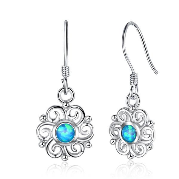 design fantaisie S925 argent sterling femme coréenne créative bleu opale boucles d'oreilles Chine fabricants fabrique de bijoux guangzhou en gros