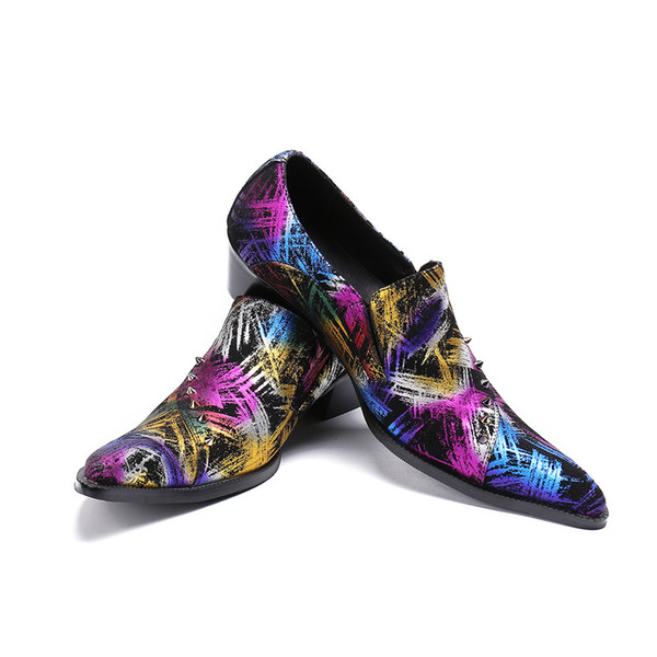2018 Luxury Business Shoes with Rivets Print Flower Fashion Party and Wedding Men Loafers Plus Size Men High Heel Shoe