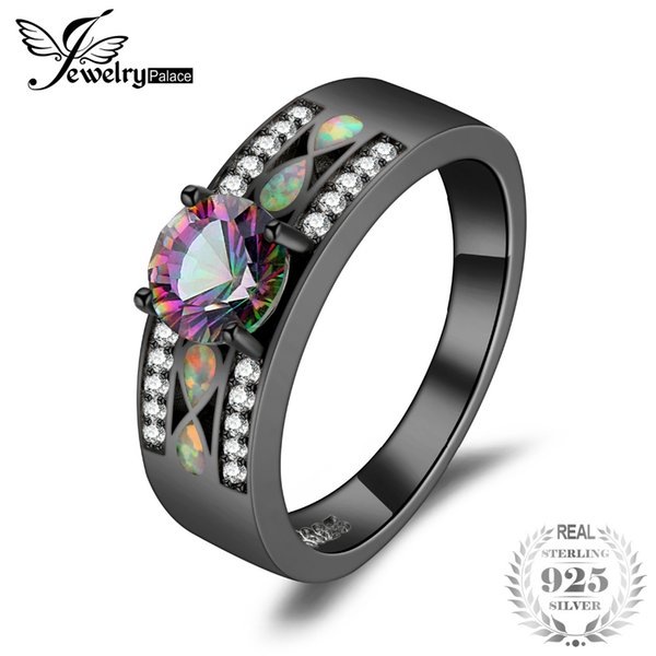 jewelrypalace fashion mystic quartz created opal band ring 925 sterling silver gift for girlfriend birthday present