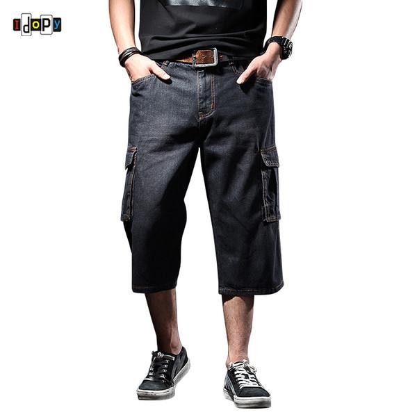 Idopy Männer Denim Cargo Shorts Plus Größe Multi-Pockets Straight Washed Jean Shorts für Männer