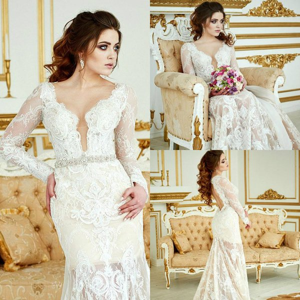 2019 Vintage Wedding Dresses With Detachable Train Long Sleeve Lace Crystals Backless Boho Wedding Dress Bridal Gowns Custom Made